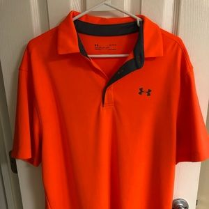NEW Under Armour Orange w/Gray Golf Polo, Large